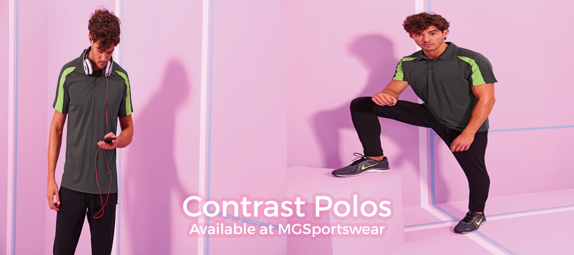 Contrast Polos Available at MGSportswear